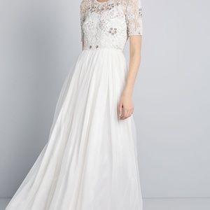 ModCloth Everlasting Romance Maxi Gown Dress Ivory